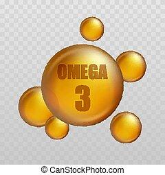vitamina, capsula, omega, 3., fish, oro, essenza, illustrazione, vettore, organico, nutrition., goccia, olio