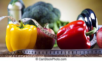 vitamina, e, idoneità, dieta, dumbbell