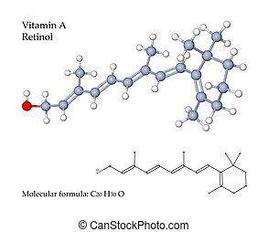 vitamina, retinol, -, ilustración, 3d, estructura, molecular