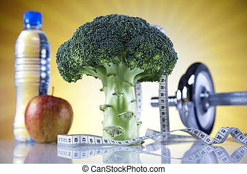 vitamina, y, condición física, dieta, dumbbell