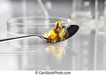vitaminas, cuchara, 3, suplementos, petri, omega, píldoras
