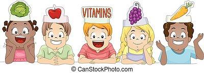 vitaminas, sombrero, papel, vegetales, niños, fruits