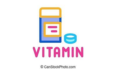 vitamine, animation, pilules, icône, paquet