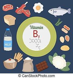 vitamine b2, riboflavine, ou, infographi