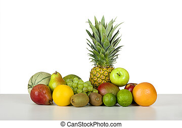 Picture of fruits over a white table