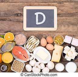 Vitamine D food sources, top view on wooden background