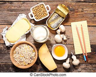 vitamine d, geassorteerd, voedingsmiddelen