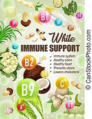 vitamine, diät- nahrung, ernährung, weißes, unterstuetzung, immun