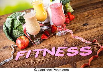 vitamine, en, fitness, dieet, dumbbell