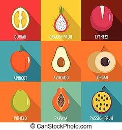 Vitamine icons set, flat style - Vitamine icons set. flat ...