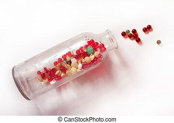 vitamine, in, a, klein, flasche