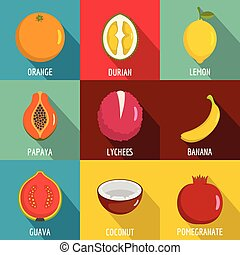Vitamine in fruct icons set, flat style - Vitamine in fruct ...