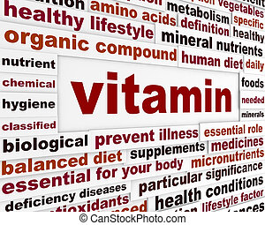 vitamine, monde médical, mots, message
