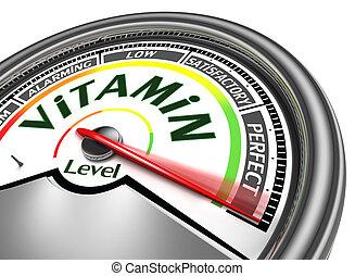 vitamine, niveau, conceptueel, meter