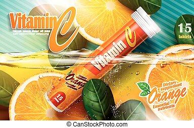 vitamine, tablet, advertentie