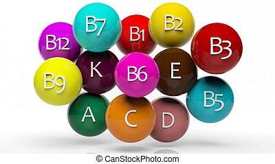 vitamine, verzameling, vrijstaand, witte