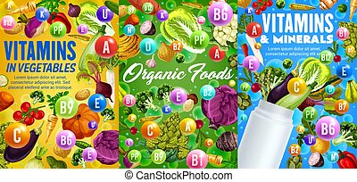 Vitamins and minerals in vegetables vector veggies - ...
