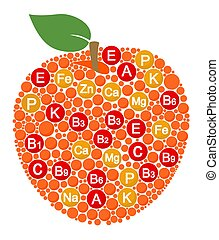 Vitamins and minerals of apple. Infographics about nutrients in apple fruit. Vector illustration about apple, vitamins, health food, nutrients