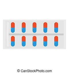 vitamins, capsules., kapsel, vektor, eller, illustration, ...