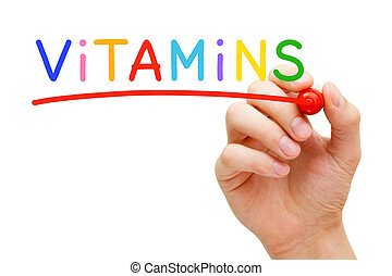 Hand writing Vitamins with marker on transparent wipe board.