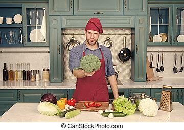 vitamins., cozinha, avental, vegetariano, cozinhar, receita, dieta, homem, cozinheiro, culinário, kitchen., ricos, recipe., cozinheiro, fresco, concept., legumes, desgaste