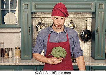 vitamins., cozinha, conceito, vegetables., avental, vegetariano, cozinhar, receita, dieta, cozinheiro, culinário, kitchen., ricos, recipe., cozinheiro, fresco, homem, desgaste