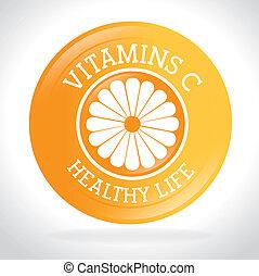 Vitamins design - Vitamins design over white background,...