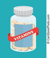 Vitamins design over blue background, vector illustration