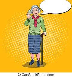 vitamins., donna, arte, pop, vettore, salute, illustrazione, presa a terra, anziano, care., felice