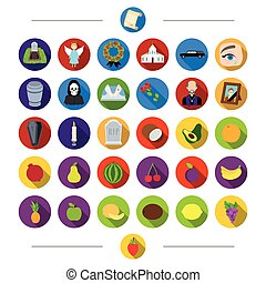 Vitamins, funeral, attributes and other web icon in cartoon...