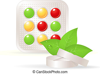 Vitamins, herbal tablets, and green leaf. Alternative medicine, vector EPS 10