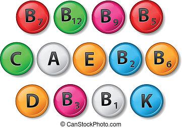 Vitamins - Set of circle vitamins different colors. eps10