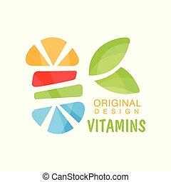 Vitamins logo original design, herbal supplement, natural medicine colorful vector Illustration