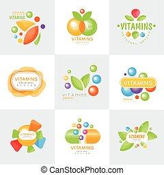 Vitamins logo set of colorful vector Illustrations