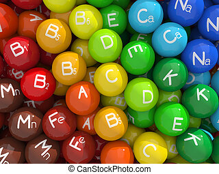 Vitamins & minerals - Colorful capsules with vitamins and ...