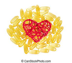 Vitamins omega 3, isolate on white background