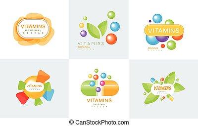 Vitamins Original Design Logo Collection, Healthy Life, Natural Medicine Colorful Bright Labels Vector Illustration