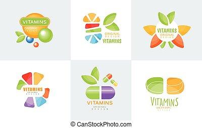 Vitamins Original Design Logo Collection, Healthy Life, Natural Medicine Colorful Labels Vector Illustration