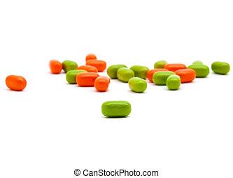 vitamin's, pilules, coupé, blanc
