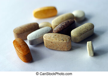 The image of vitamins in close-up