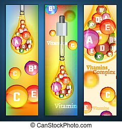 Vitamins Vertical Banners - Essential vitamin complex. ...