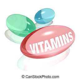 vitamins, vita, bakgrund, och, ord, på, kapsel