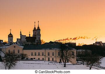 Vitebsk, Belarus. Sunrise Sky Over Local Landmark Holy Resurrection Church. Winter Morning.