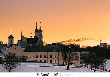 Vitebsk, Belarus. Sunrise Sky Over Local Landmark Holy ...