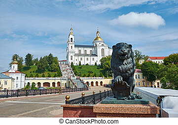 Vitebsk city in Belarus, Lion sculpture on Pushkin bridge ...