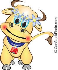 vitello, cartone animato, carattere