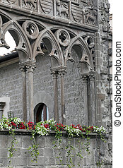 "VITERBO, ITALY, MAY 4, 2014: Exhibition ""San Pellegrino in Fiore in Viterbo."" The event in San Pellegrino in Fiore sees the historic city of Viterbo with floral decorations in the streets and squares."