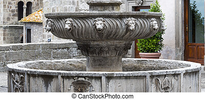 Viterbo (Lazio, Italy), the historic Palace of the Popes. Fountain