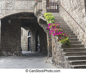 Viterbo (Lazio, Italy): typical old street in the medieval town (San Pellegrino)