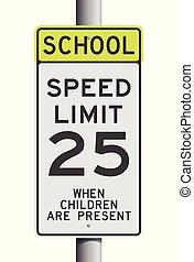 vitesse, école, limite, panneaux signalisations
